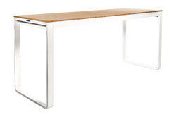 TABLE HAUTE KUBO BLANCHE PLATEAU BAMBOU 230 CM